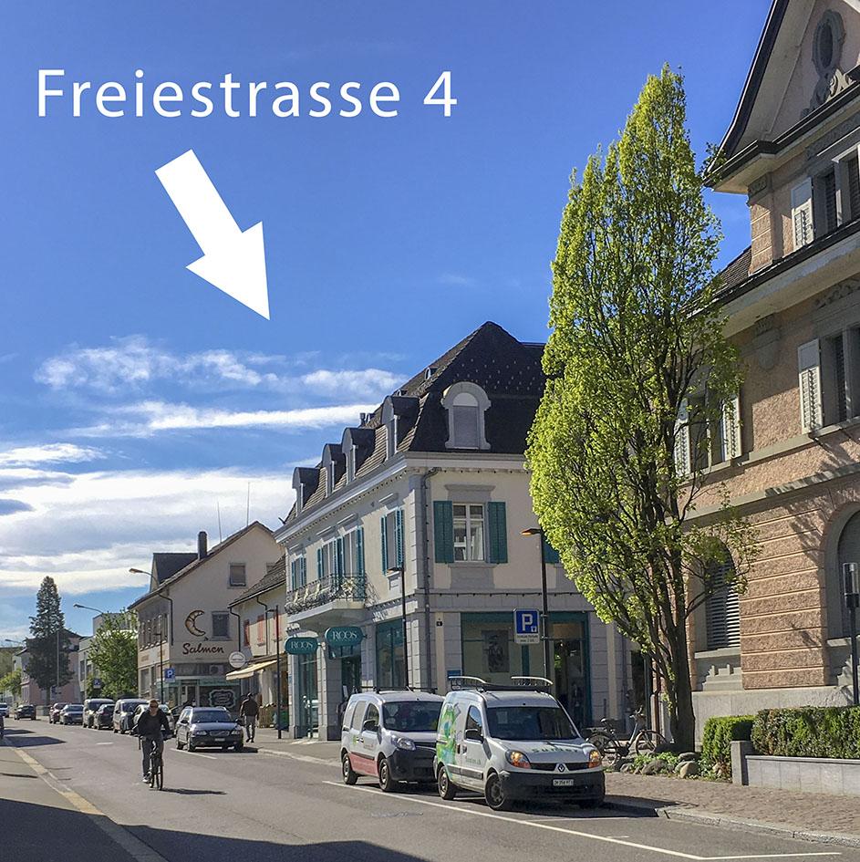 Freiestrasse 4, 8610 Uster: Standort des Beratungsraumes von Stina Steiner-Sondheimer in Uster